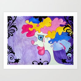 Watercolour Clown with Big Lips Art Print