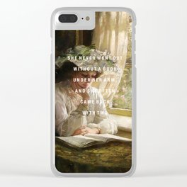 never without a book Clear iPhone Case