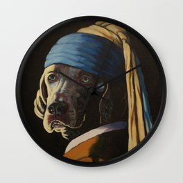 WEIMARANER WITH PEARL EARRING Wall Clock