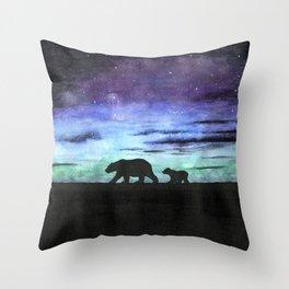 Aurora borealis and polar bears (black version) Throw Pillow