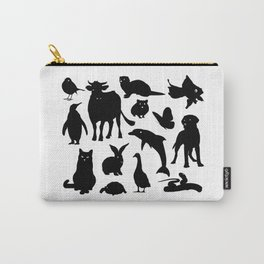 ANIMALS PATTERN Black Silhouette Pet Animal Cool Style Carry-All Pouch