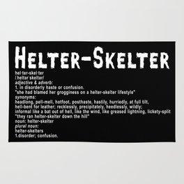 Helter Skelter (white on black) Rug