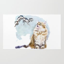 Cute Cat on the Lurk Watercolor Painting Rug