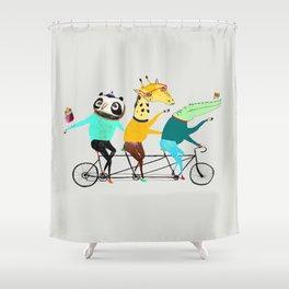 Animals biking. bike art, bike decor, bikes. Shower Curtain