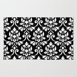 Feuille Damask Pattern White on Black Rug
