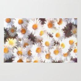 Spring Daisy Wildflower Watercolor Rug