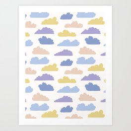 Hand drawn vector cloud illustration. Seamless repeating pattern Art Print