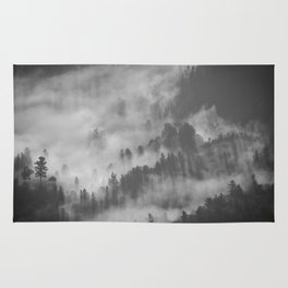 Vintage Black & White Photo Of A Mountain Forest With Mist Rug