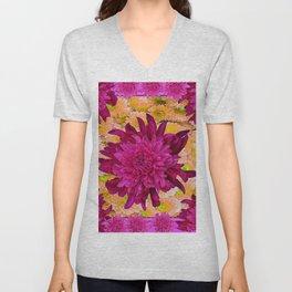 Stylized  Burgundy Purple & Yellow Chrysanthemums Floral Garden Unisex V-Neck