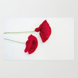 Two Red Poppies Rug