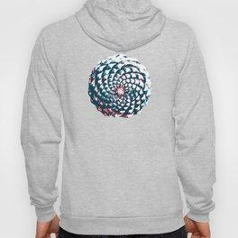 pine cone pattern in coral, aqua and indigo Hoody