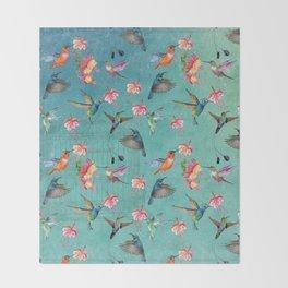Vintage Watercolor hummingbirds and fuchsia flowers Throw Blanket