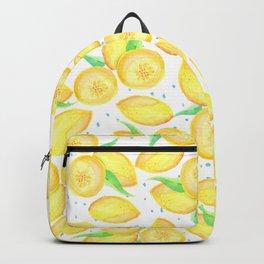 Sunshine yellow orange blue watercolor lemon fruit pattern Backpack