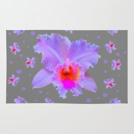 GREY ART TROPICAL LILAC CATTLEYA ORCHID FLOWERS Rug