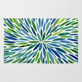 Watercolor Burst – Blue & Green Rug