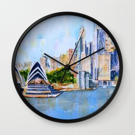 Colorful Sydney Harbor Wall Clock