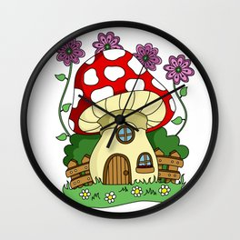 Toadstool Fairy House Wall Clock