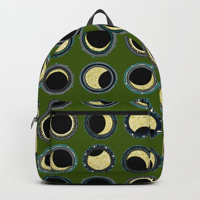 solar eclipse mandala green Backpack