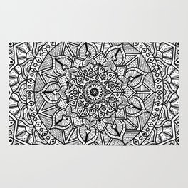 Circle of Life Mandala Black and White Rug