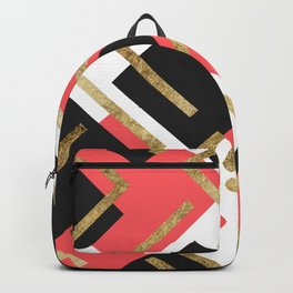 Chic Coral Pink Black and Gold Square Geometric Backpack