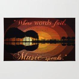 """Where words fail, music speaks."" Hans Christian Anderson Rug"