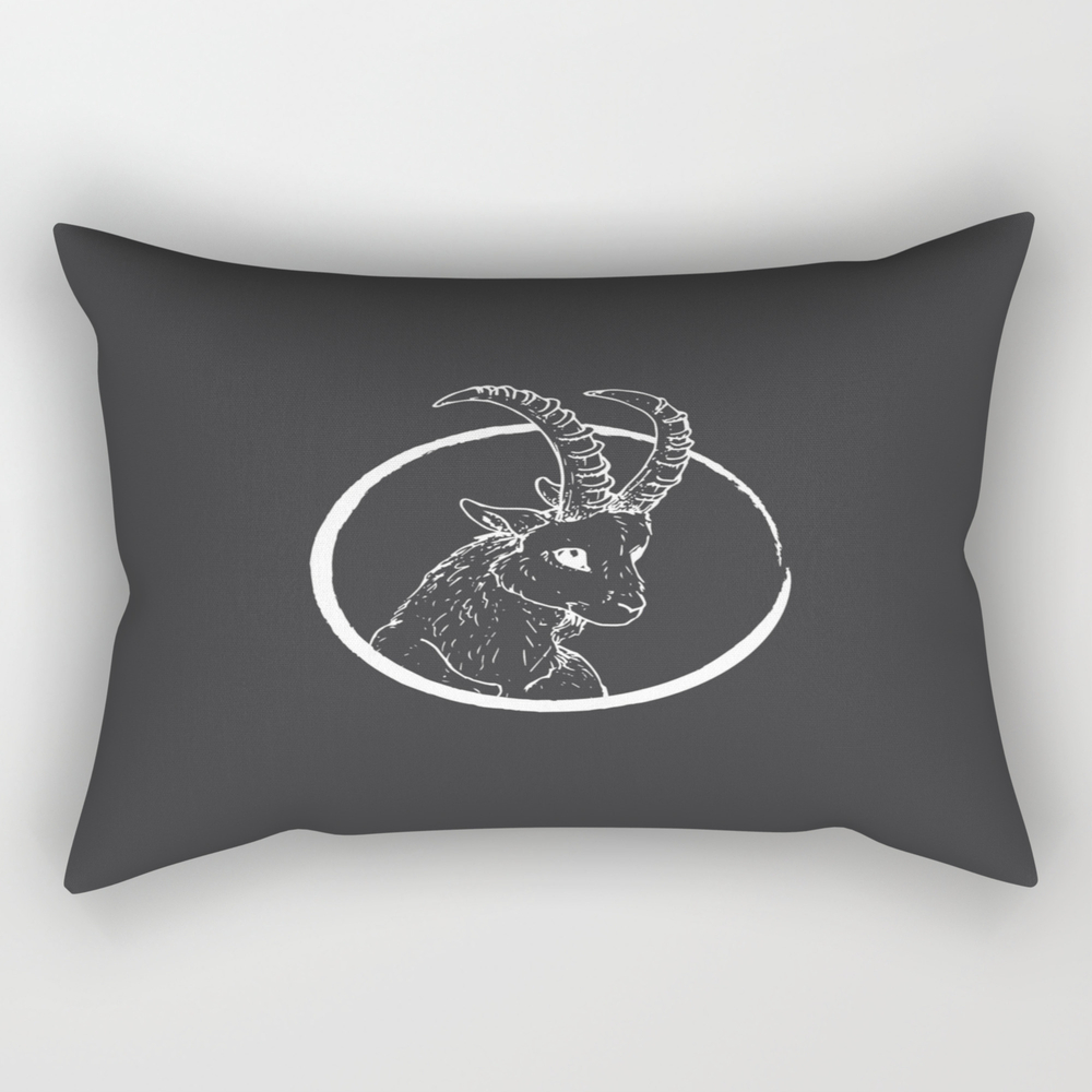 Pen & Ink Goat Tattoo White Rectangular Pillow RPW8757662