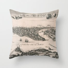 Vintage Pictorial Map of Constantinople (1696) Throw Pillow
