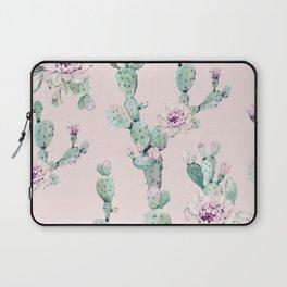 Cactus Rose Pattern on Pink Laptop Sleeve