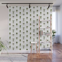 Cacti & Succulents - White Wall Mural
