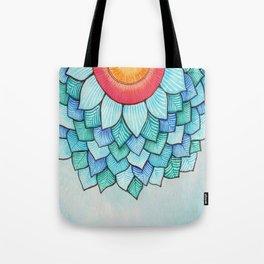 Pencil Watercolor Tropical Flower Tote Bag