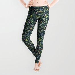 Floral blue pattern. Watercolor Leggings