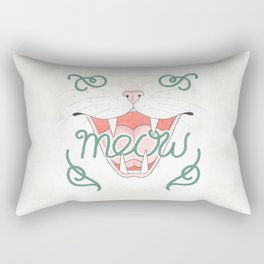 Cat's Meow // Illustration of Smiling Cat with Calligraphy Rectangular Pillow
