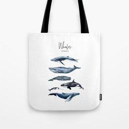 Watercolor Whales, Cetaceans, Whale Cetacea Tote Bag