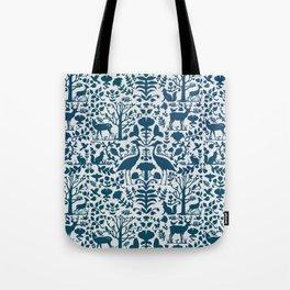 Folk Art Pattern Blue Teal on Gray Tote Bag