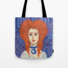 Red Hair, ginger lady, rococo haircut, felt painting, fiber art Tote Bag