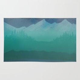 Ombre Mountainscape (Blue, Aqua) Rug