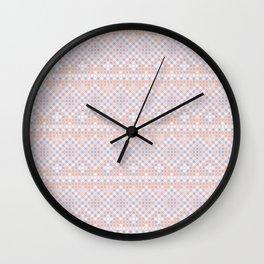 Vintage blush pink blue white cross stitch pattern Wall Clock