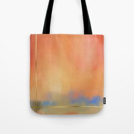 Abstract Landscape With Golden Lines Painting Tote Bag