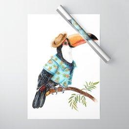 Summer Toucan in Hawaiian Shirt Wrapping Paper