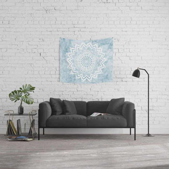LIGHT BLUE MANDALA SAVANAH Wall Tapestry