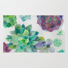 minimalist watercolor succulent arrangement Rug