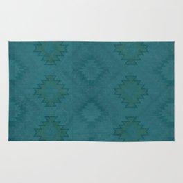 Moroccan Teal Painted Desert Rug