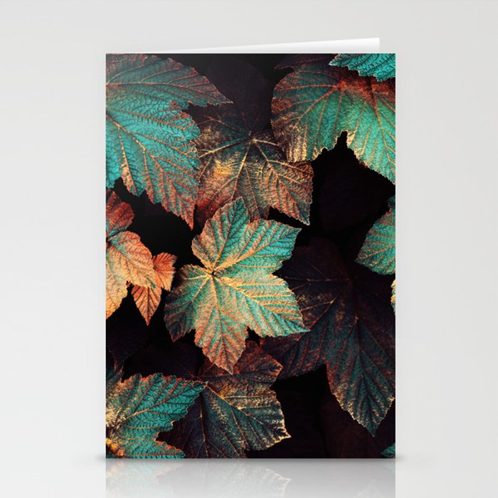 copper and teal leaves stationery cards by elisabethfredriksson