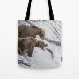 The Catch - Brown Bear vs. Salmon Tote Bag