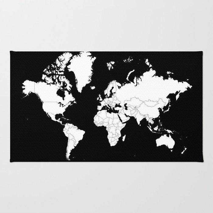 Minimalist world map white on black background rug by constantchaos minimalist world map white on black background rug gumiabroncs Gallery
