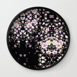 Cascading Pink Flowers Wall Clock