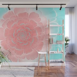 Romantic aqua and pink flower, digital abstracts Wall Mural