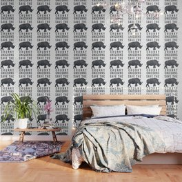 Save the chunky unicorns rhinoceros illustration Wallpaper