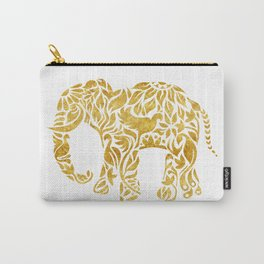 Floral Elephant in Gold Carry-All Pouch