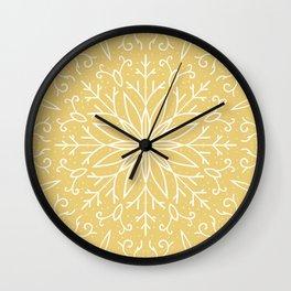 Single Snowflake - Yellow Wall Clock